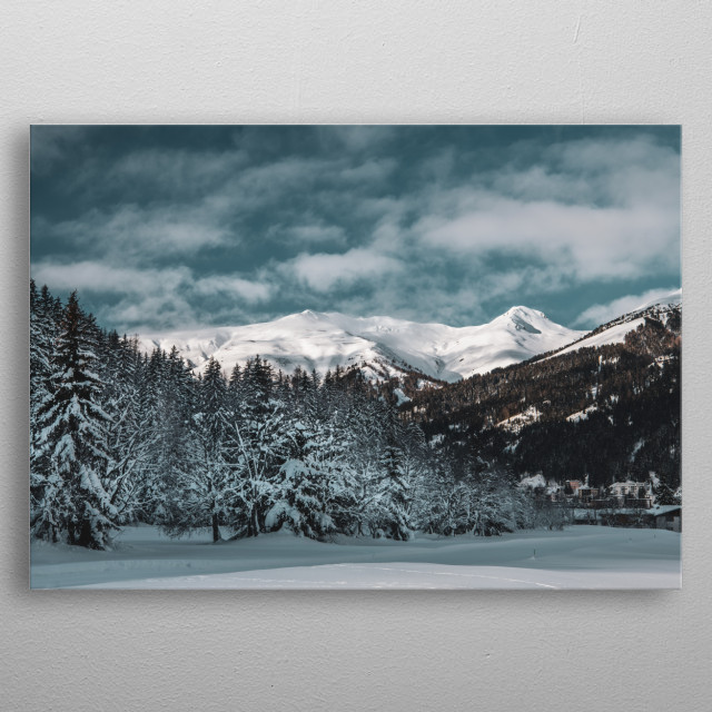 This photo was taken in Davos, Switzerland. metal poster