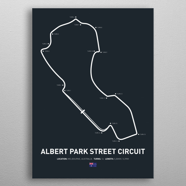 Illustration of the layout from Albert Park metal poster