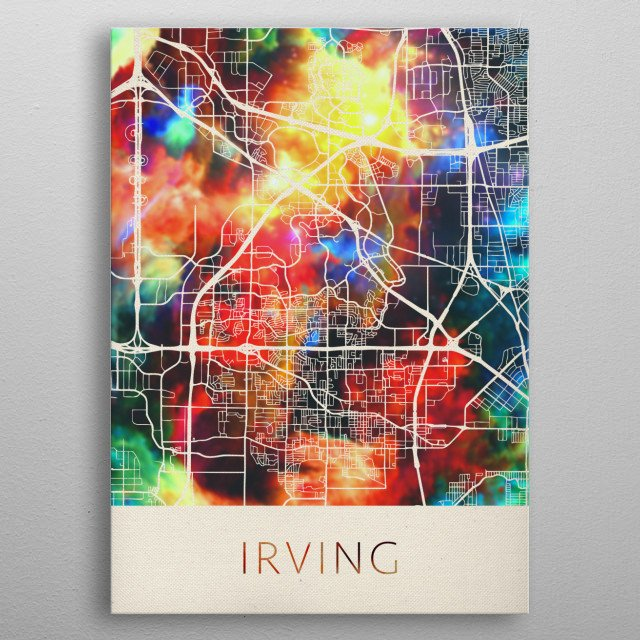 Irving Texas Watercolor City Street Map metal poster