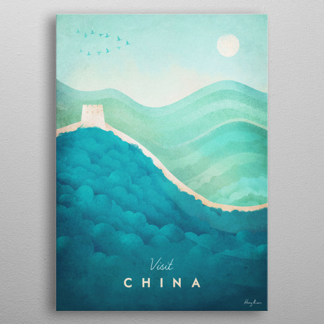 Minimal travel poster of the Great Wall of China by artist Henry Rivers. metal poster