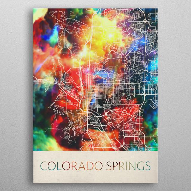 Colorado Springs Watercolor City Street Map metal poster
