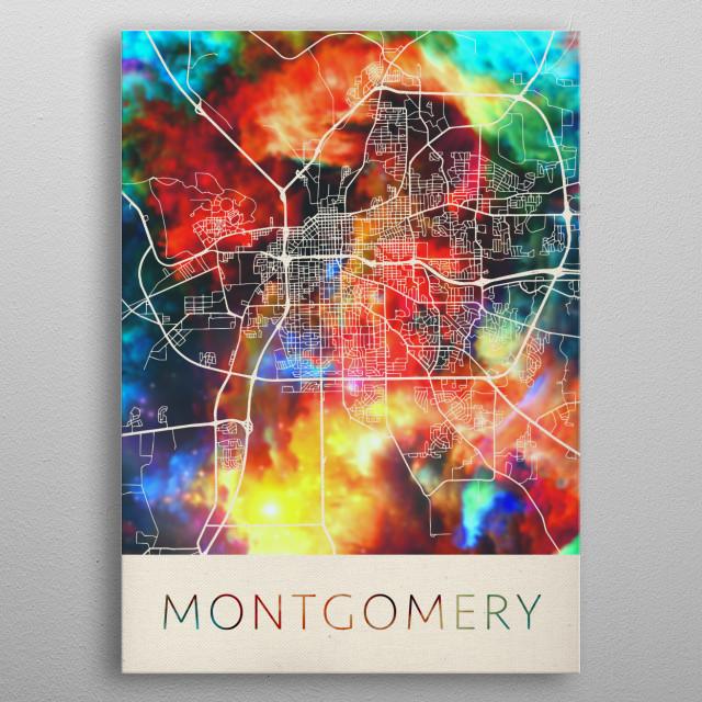 Montgomery Alabama Watercolor City Street Map metal poster