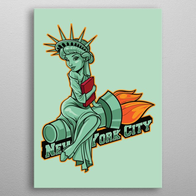 This fun and colourful digitally drawn NYC landmark depicts the infamous Statue of Liberty. Grab this and other city badges! metal poster
