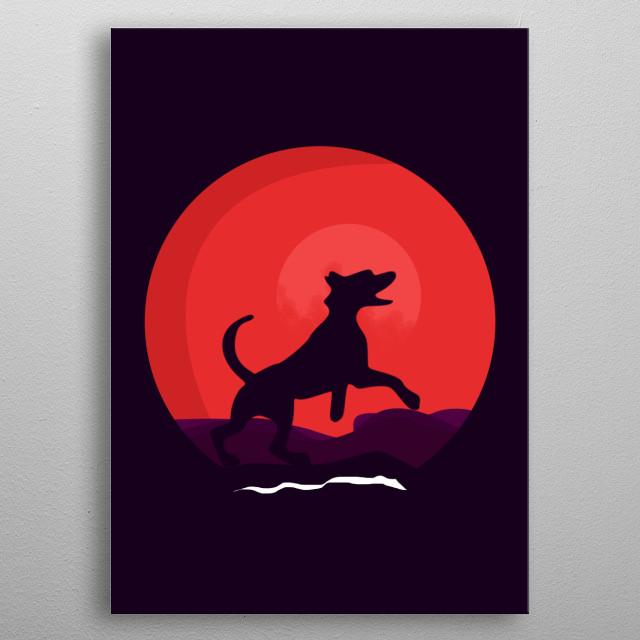 Dog Simple illustration metal poster