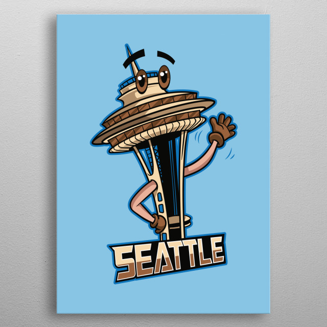 This fun and colourful digitally drawn Seattle landmark depicts the infamous Space Needle. Grab this and other city badges! metal poster
