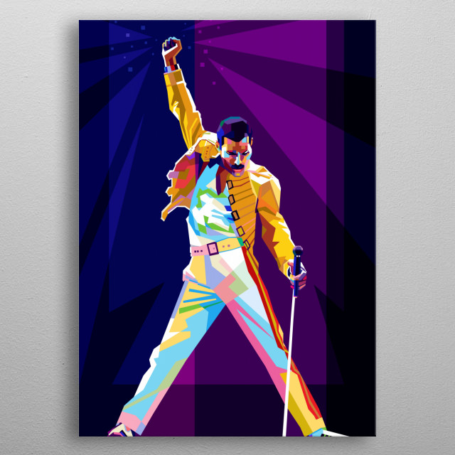 Freddie Mercury is a singer from the queen band, with a modern pop art style. metal poster