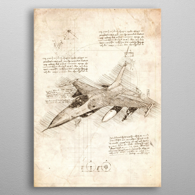 Sketch of the F 16 Fighting Falcon metal poster