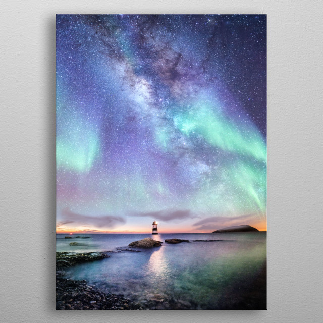 Milky way and aurora  metal poster