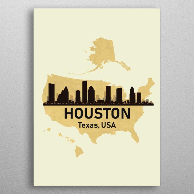 Houston Texas USA metal poster