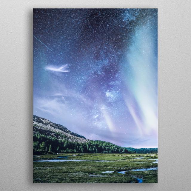 Milky aurora at night metal poster