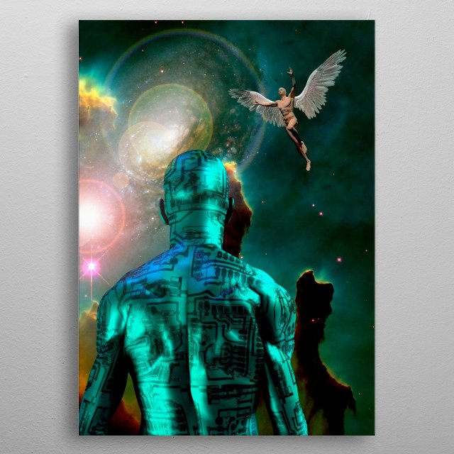 Surreal digital art. Man with electric circuit pattern on his skin stands before nebula in deep space. Men with wings represents angels metal poster