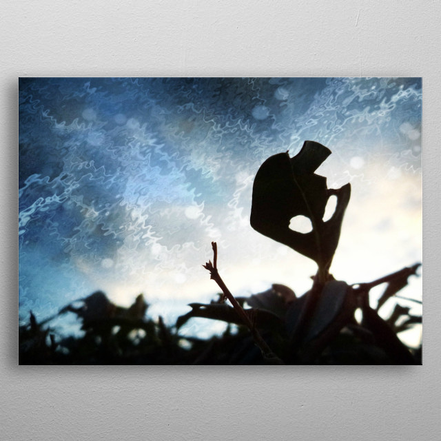 A leaf that looked like an Alien, got me inspired.   metal poster