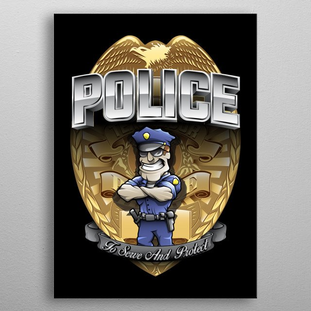 Hand drawn paramedic mascot standig front of the badge with a quote: To serve and protect metal poster