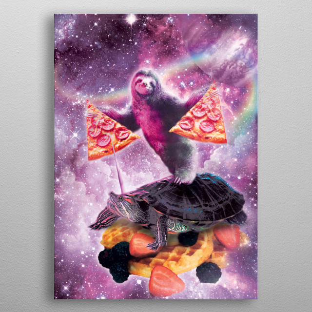 Pick up this funny galaxy sloth with pizza riding turtle unicorn on waffles design.  metal poster