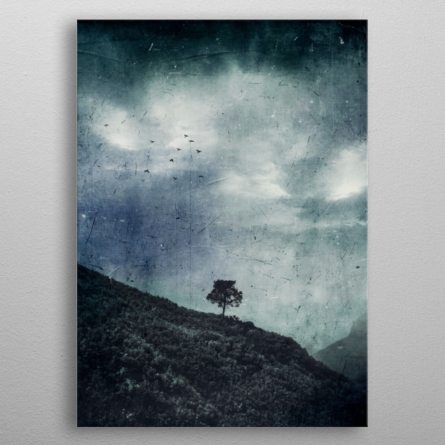 Lone tree standing on a mountain side above a valley metal poster
