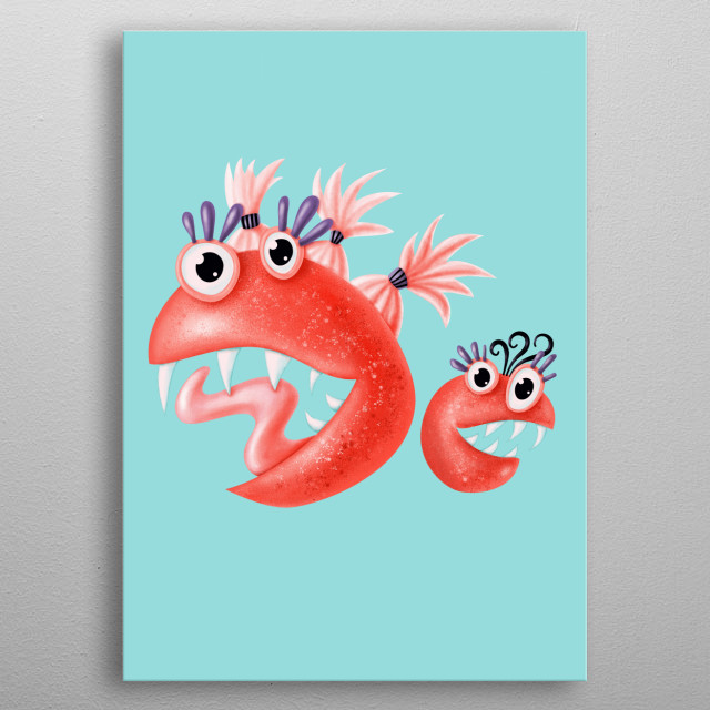 Happy monster friends - dynamic digital illustration of two weird creatures with odd shapes - one big and one small - standing next to each  metal poster
