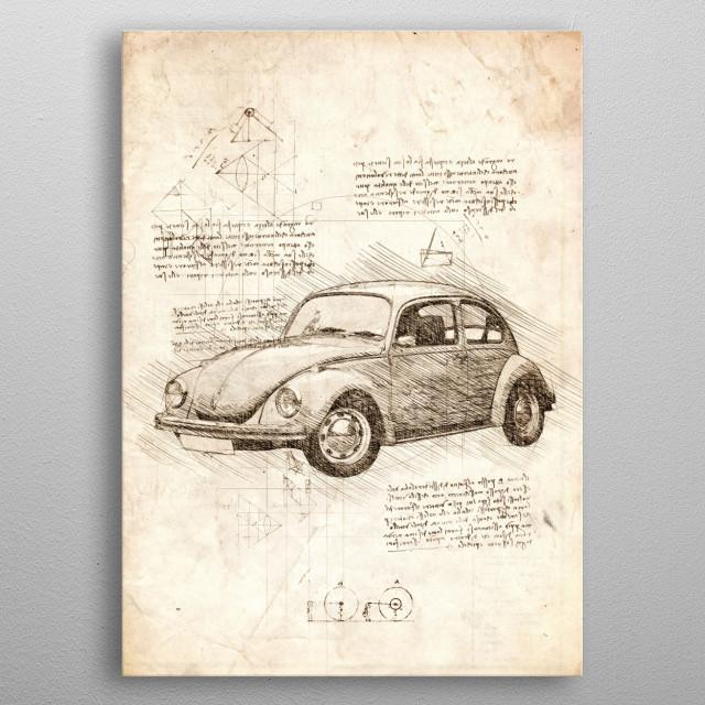 Sketch of a Volkswagen Beetle metal poster