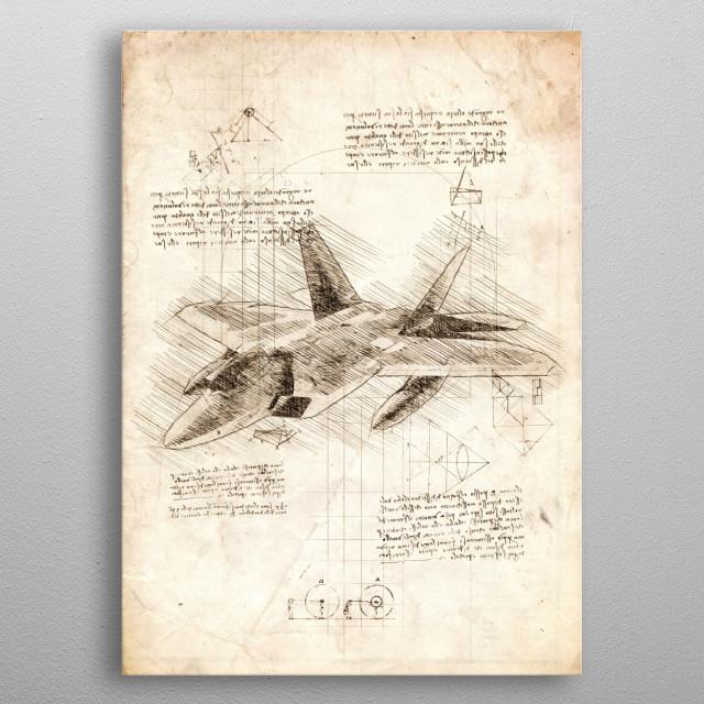 Sketch of the F 22 Raptor metal poster