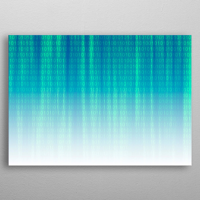 Binary Code Background metal poster