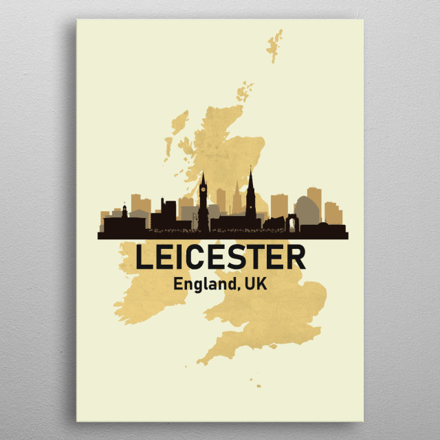 Leicester England UK metal poster