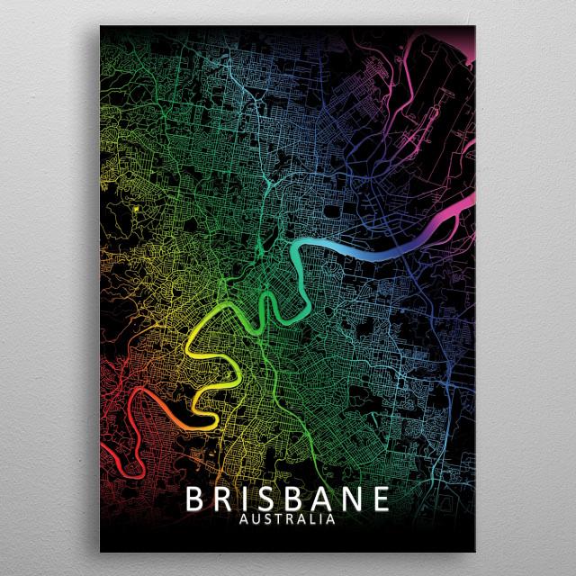 Brisbane Australia rainbow city map metal poster