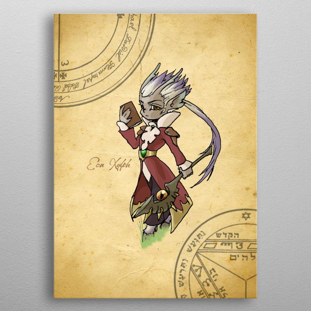 One of the children of the fauns and the fairies. This genderless creature loves reading books, specially the magic ones. metal poster