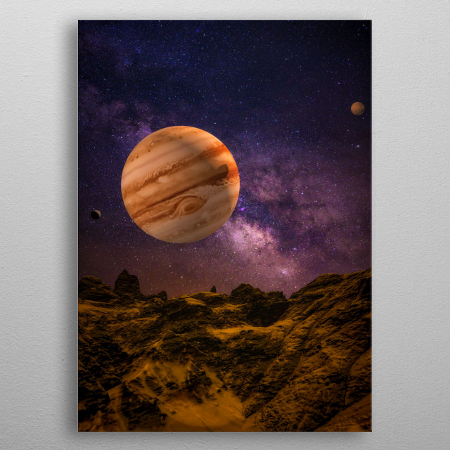 Spacescape of the solar system metal poster