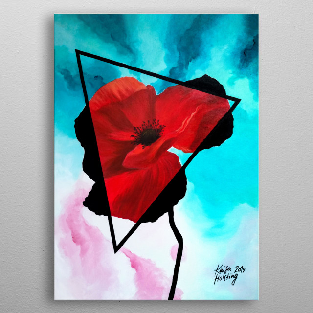 Digital copy of a traditional acrylic painting on canvas of a red poppy flower in a triangle with a watercolour-imitation background. metal poster