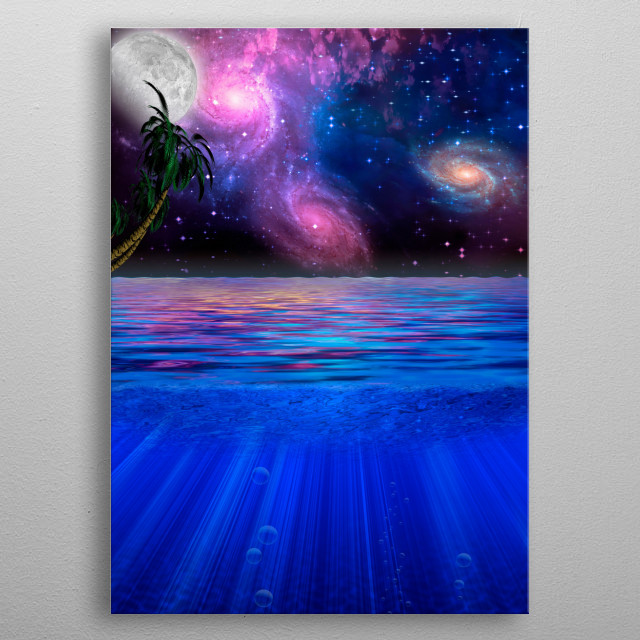 Tropical scene with vivid galaxies in the starry sky metal poster