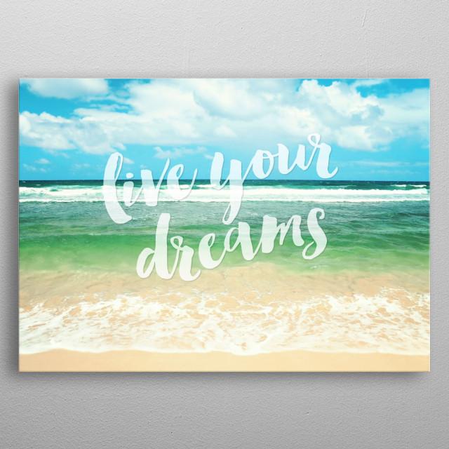Hawaiian ocean/beach photograph with typography metal poster