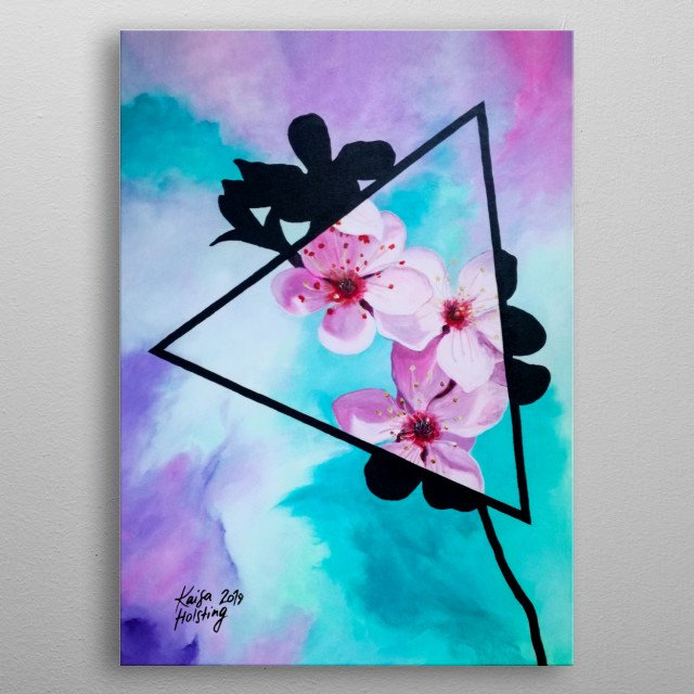 Digital copy of a traditional acrylic painting on canvas of pink apple blossoms in a triangle with a watercolour-imitation background. metal poster
