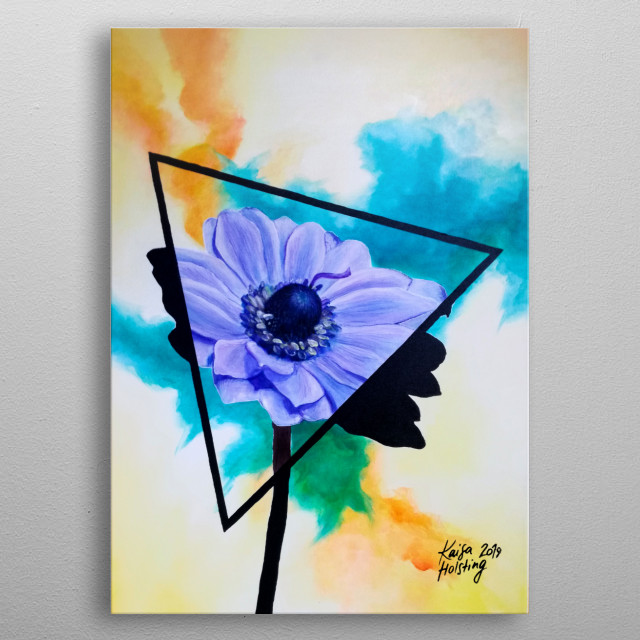 Digital copy of a traditional acrylic painting from on canvas of an anemone flower in a triangle with a watercolour-imitation background. metal poster