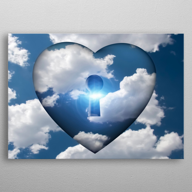 Heart with keyhole in clouds metal poster