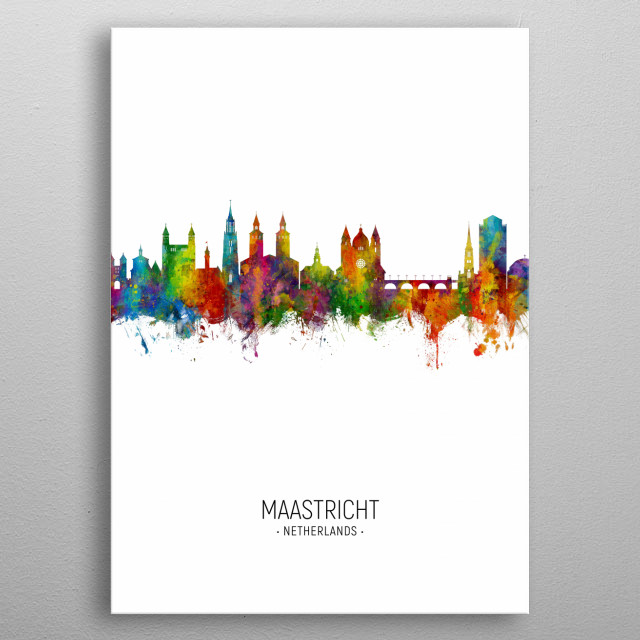 Watercolor art print of the skyline of Maastricht, The Netherlands metal poster