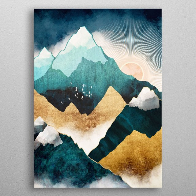 Abstract depiction of sun rising over mountain peaks with blue, teal and copper metal poster