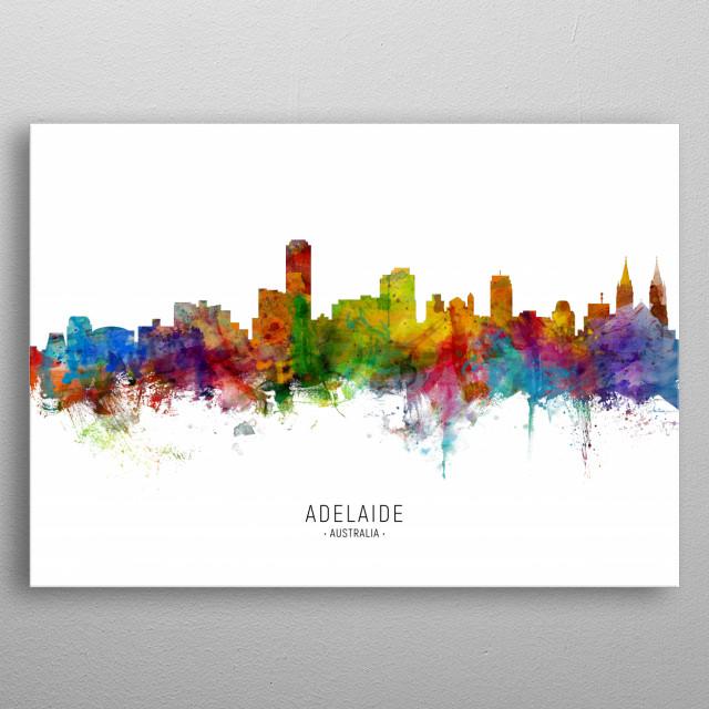 Watercolor art print of the skyline of Adelaide, South Australia, Australia metal poster