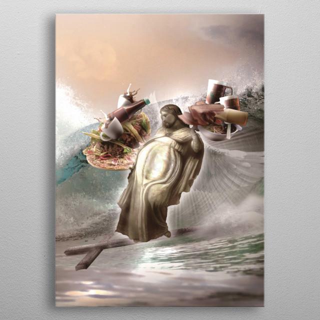 Pick up this funny humor Jesus surf design.  metal poster