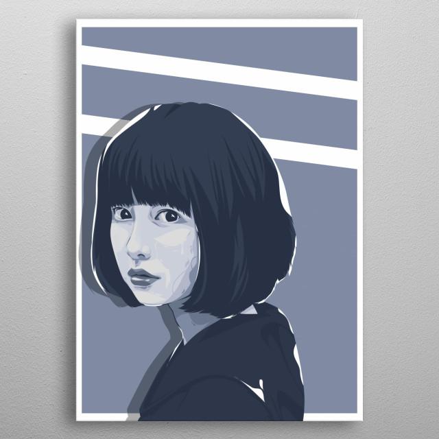 Women Short Hair Vector Portait metal poster