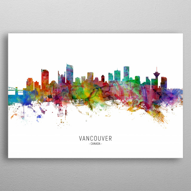 Watercolor art print of the skyline of the city of Vancouver, British Columbia, Canada metal poster