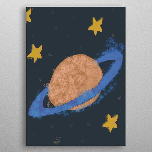 Get this awesome watercolor Illustration of Planet.  metal poster