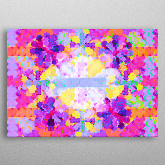 8 corner stars geometry arranged in all directions forming abstract shape of the Sun.  metal poster
