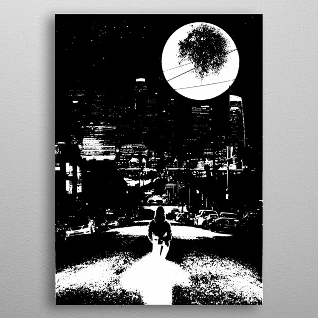 a black and white cosmos inspired artwork metal poster