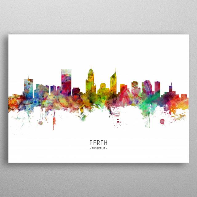 Watercolor art print of the skyline of Perth, Australia metal poster