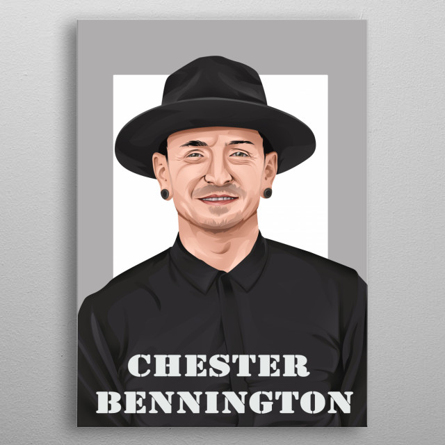 Illustration of the chester bennington   metal poster
