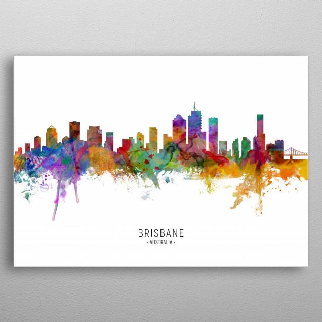 Watercolor art print of the skyline of Brisbane, Queensland, Australia metal poster