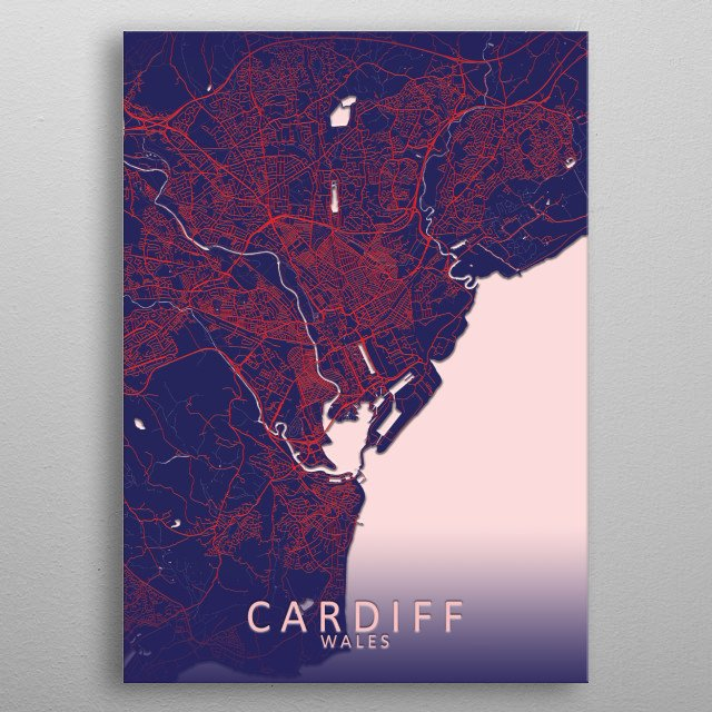 Cardiff, Wales, blue city map metal poster