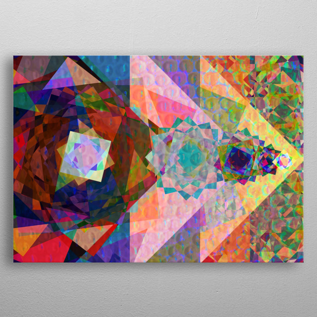Eight corner star geometry arranged in colour and composition with the energy of the Judgement Major Arcana tarot. metal poster