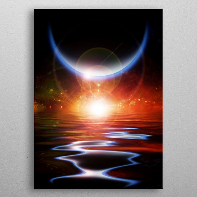 Sun eclipse. Waters reflection and Planets metal poster
