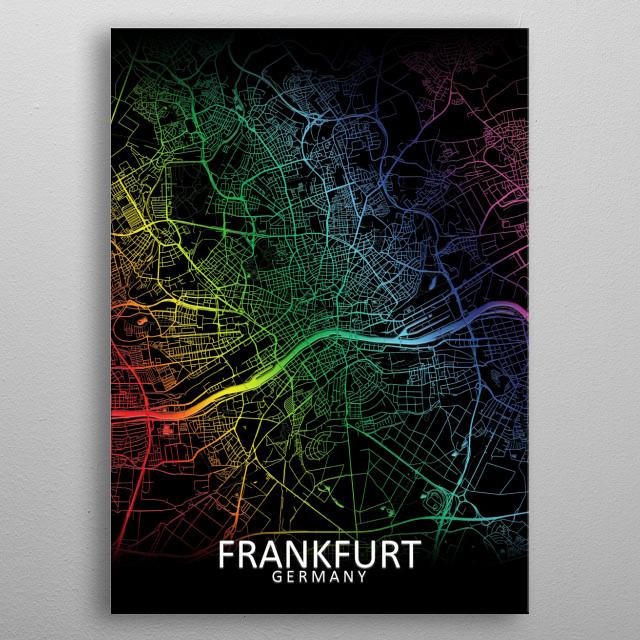 Frankfurt, Germany, rainbow city map metal poster
