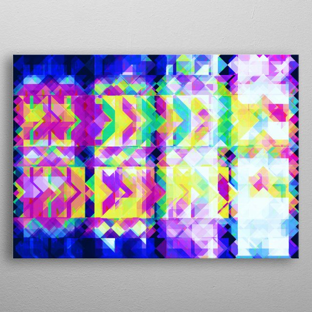 An illustration of 8 corner stars geometry arranged in vertical upright direction. metal poster